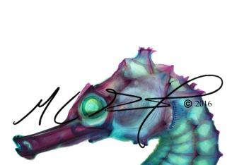 Hippocampus kuda, the yellow seahorse; head close up.